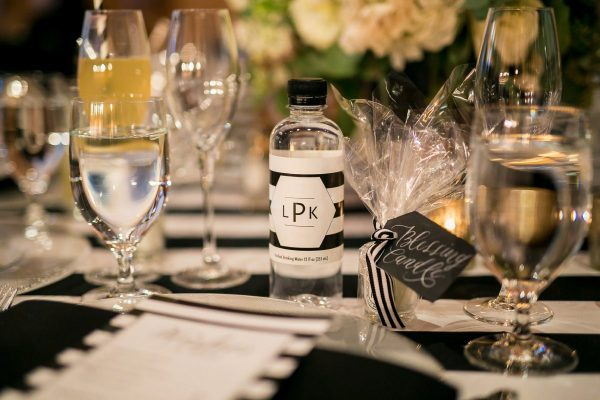 Water bottles with personalized labels for wedding